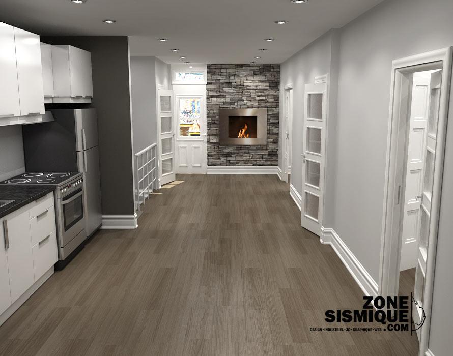 Triplex chambord etage3 salon cuisine zone sismique for Cuisine salon design