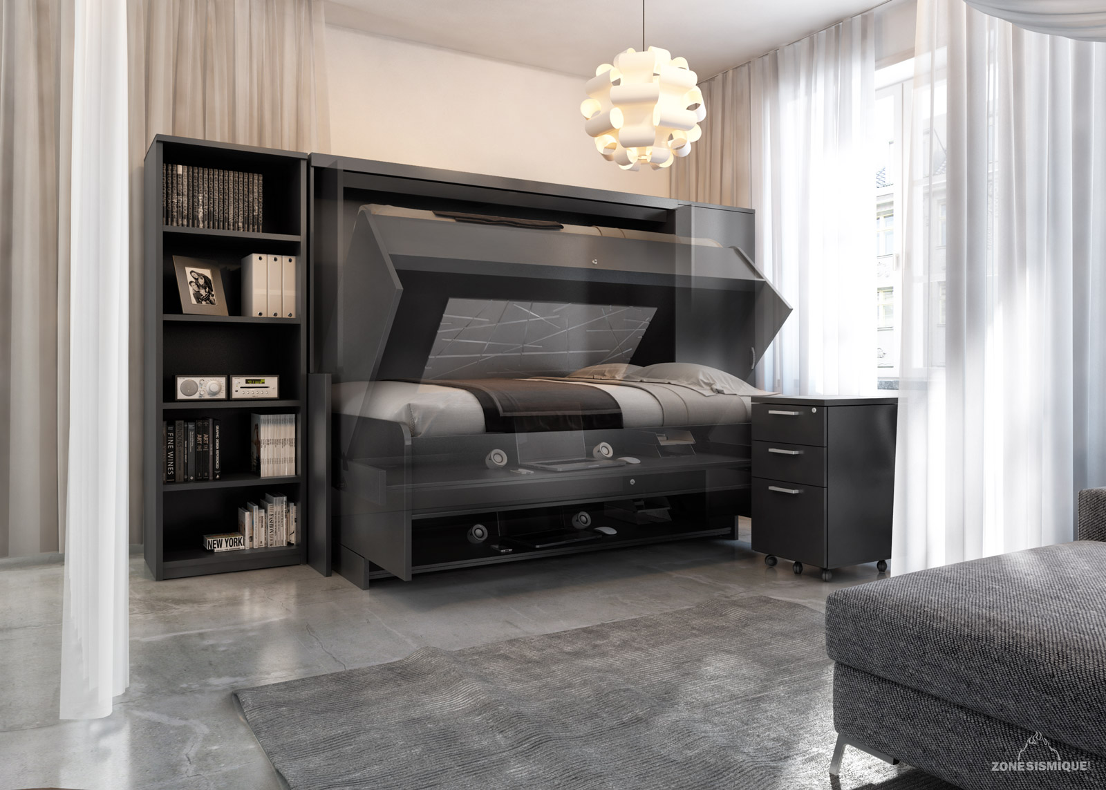 zone sismique g module concept bureau lit moderne mouvement zone sismique design. Black Bedroom Furniture Sets. Home Design Ideas