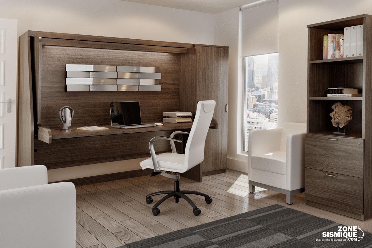 zs condo bureau lit gmoduleconcept zone sismique design industriel 3d graphique carl. Black Bedroom Furniture Sets. Home Design Ideas