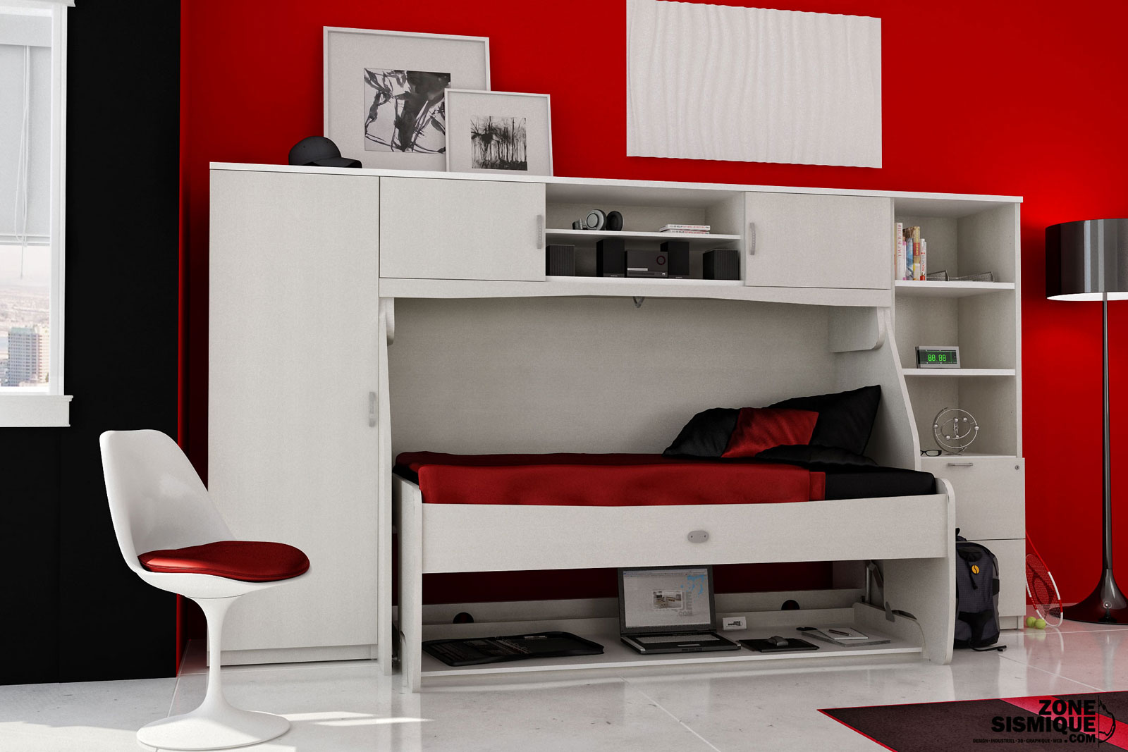 zone sismique bureau lit g module cameli adolescent v1. Black Bedroom Furniture Sets. Home Design Ideas