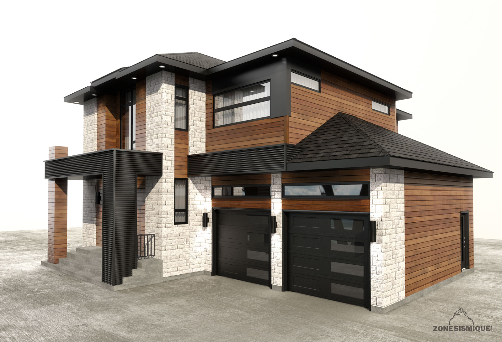 Zone sismique contruction salette maison moderne garage - Construction de maison 3d ...