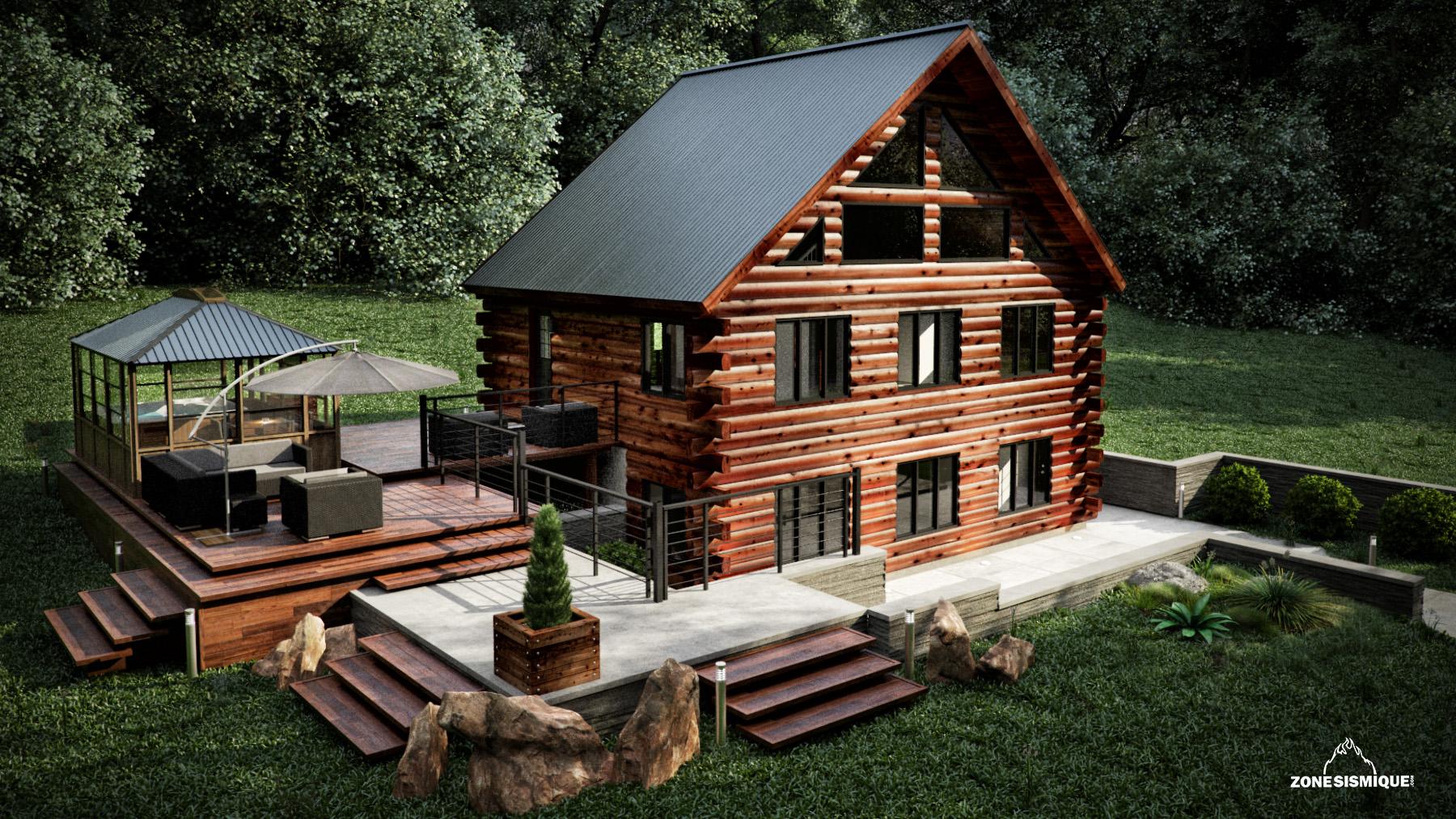 Zone sismique bois hamel chalet exterieur front v1a for Chalet bois design