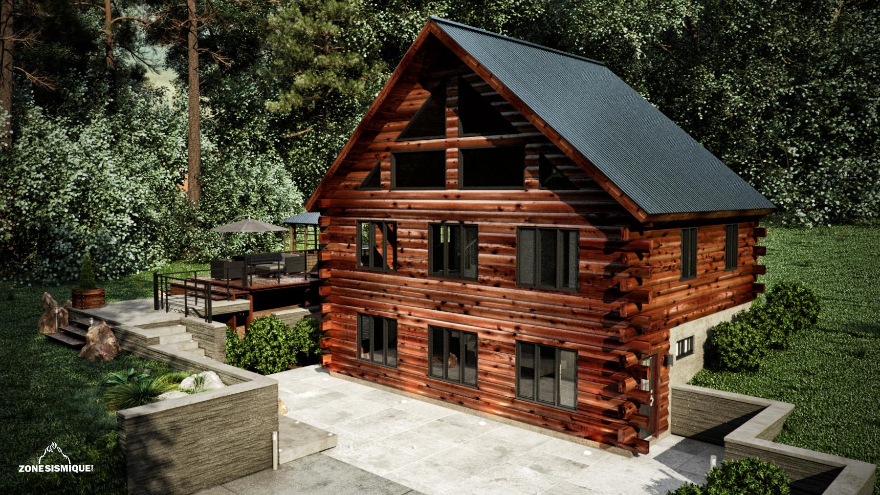 Zone sismique bois hamel chalet exterieur front v2a for Chalet bois design