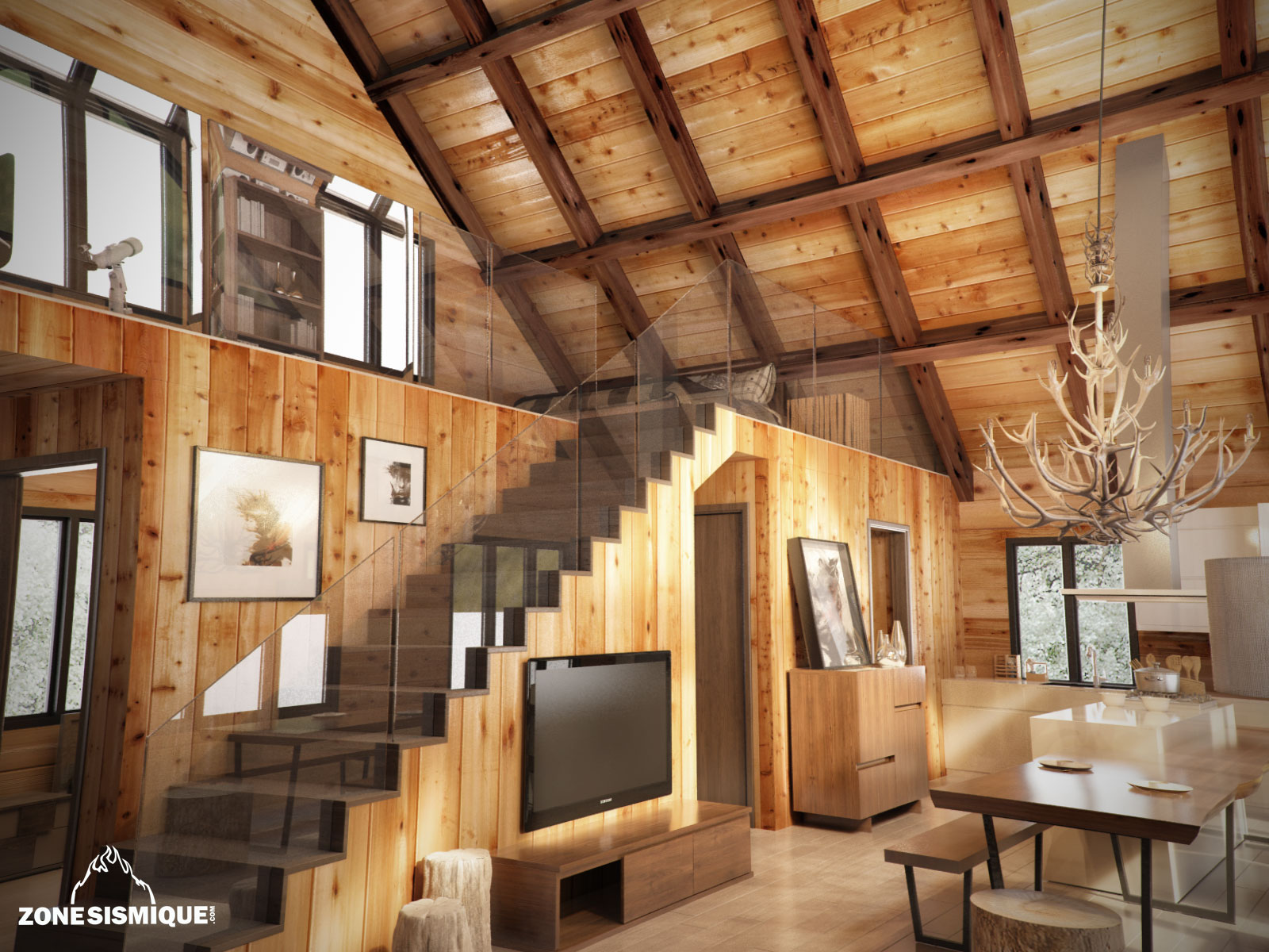 Interieur maison en bois rond for Interieur chalet contemporain