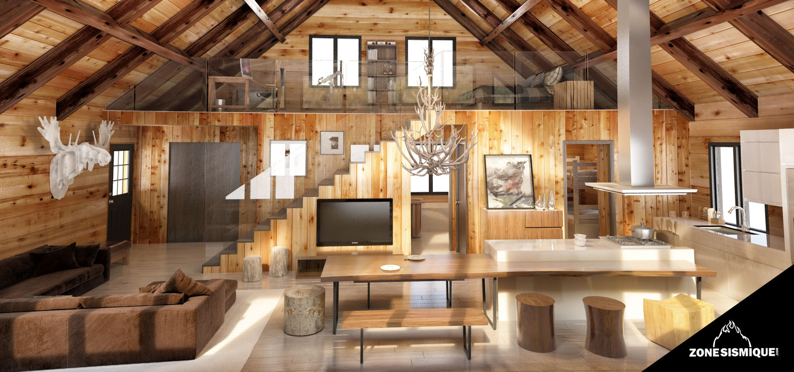 Plan interieur maison en bois for Bois de chalet