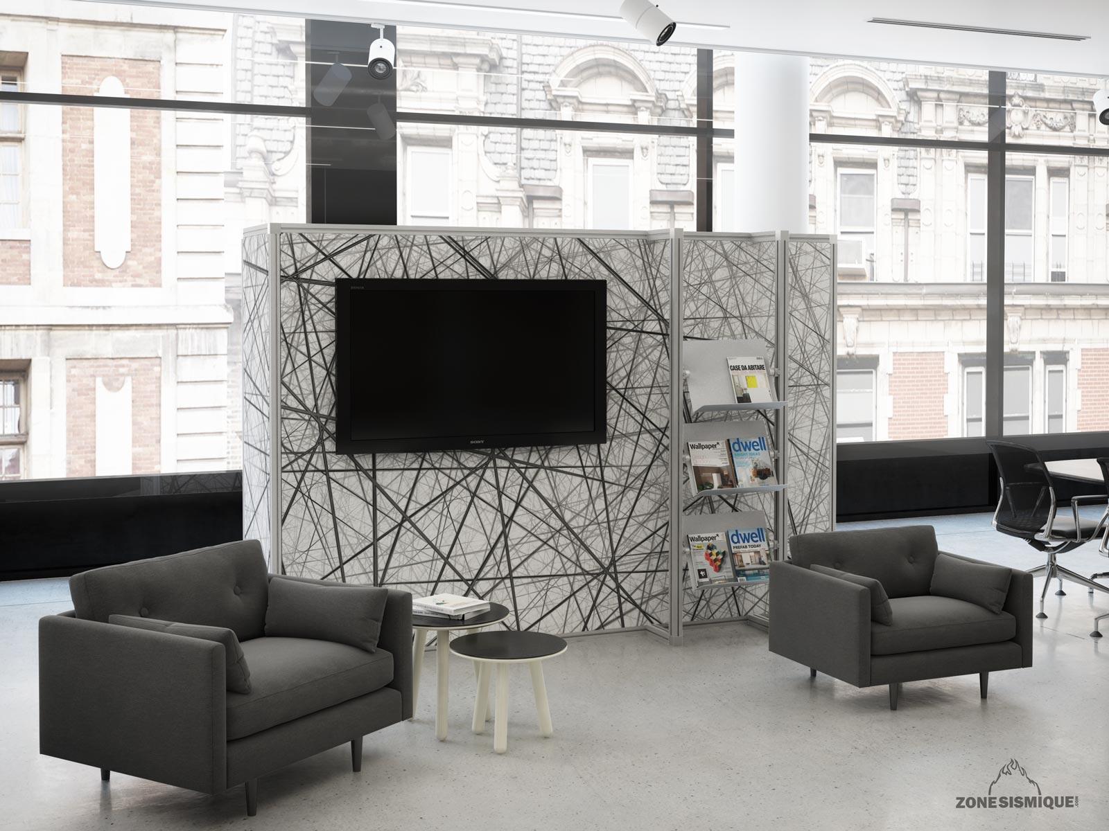 zone sismique rho mur audio bureau 3d vue3 zone sismique design industriel 3d graphique. Black Bedroom Furniture Sets. Home Design Ideas