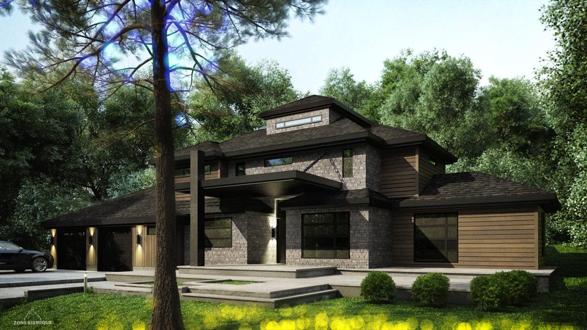 Zone sismique suzanne maison moderne 3d exterieur v2 for Exterieur maison 3d