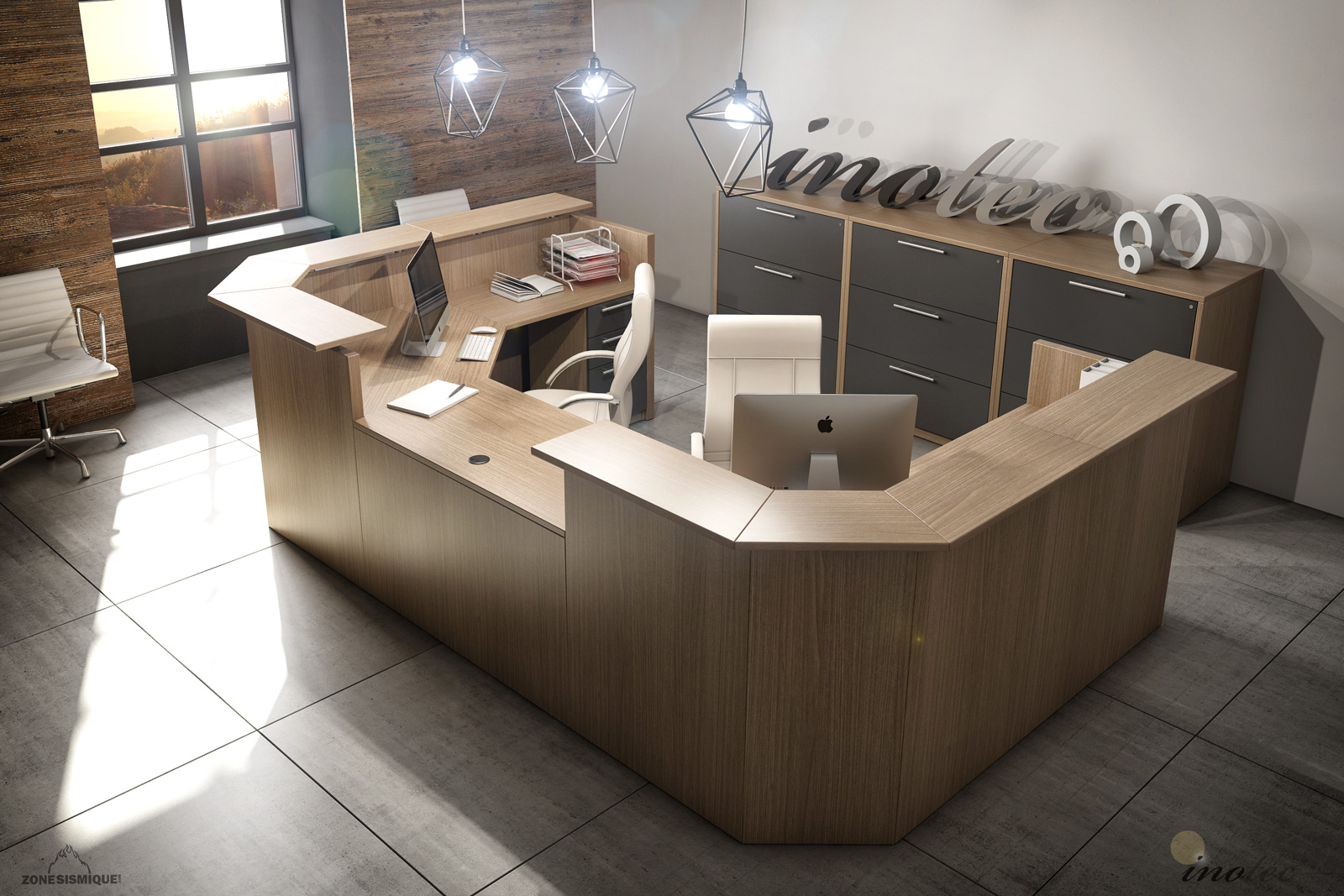 zone sismique inotec scene bureau 3d ypc 213 v1 zone. Black Bedroom Furniture Sets. Home Design Ideas
